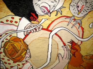 A Big Fat Hen (materials: linen, cotton, wool; size: 40x40cm)