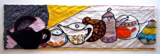 A Tiny Orange Teapot (materials: linen, cotton, wool; size: 70x20cm)