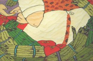 Asparagus Seller (materials: linen, cotton, wool; size: 45x45cm)
