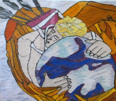 Cupid Hangs on to the Earth (materials: linen, cotton, wool; size: 40x40cm)