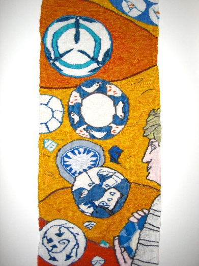 Dr Brown's Blue Plates (materials: linen, cotton, wool; size: 35x70cm)
