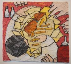 Fish & Chips (materials: linen, cotton, wool; size: 29x25cm)