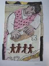 GingerBread Men (materials: linen, cotton, wool; size: 37x54cm)