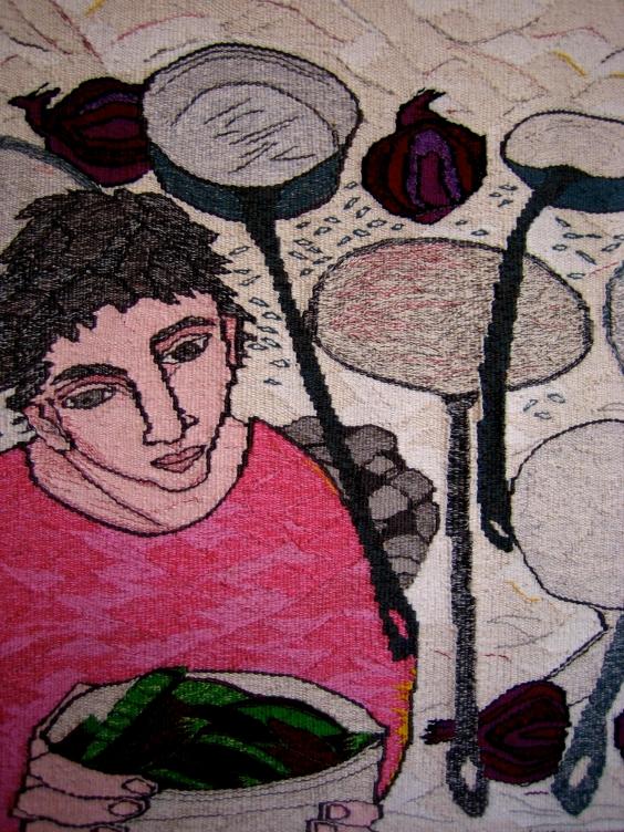 Mes en Plas (materials: linen, cotton, wool; size: 55x55cm)