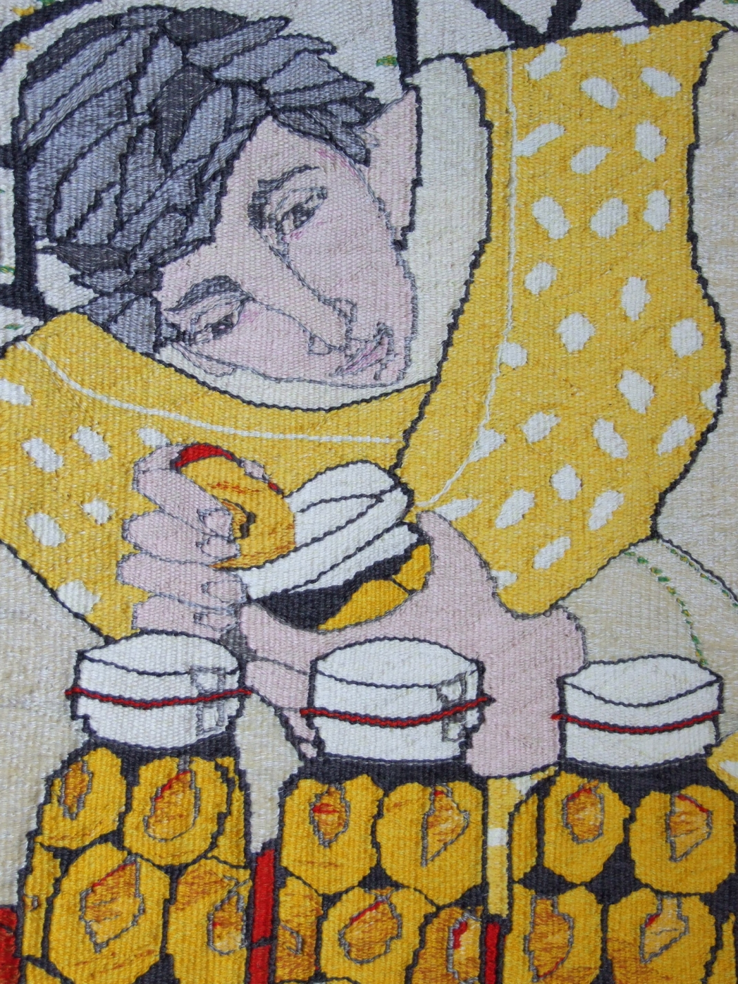 Pickled Peaches (materials: linen, cotton, wool; size: 70x60cm)