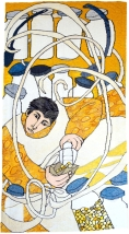 Sherbet Lemons, Sour Plooms (materials: linen, cotton, wool; size: 80x165cm)