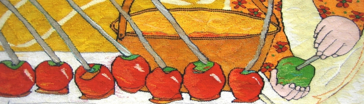 Toffee Apples (materials: linen, cotton, wool; size: 75x30cm)