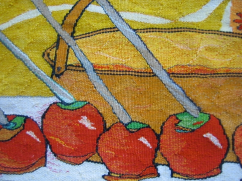 Toffee Apples (detail; materials: linen, cotton, wool; size: 75x30cm)